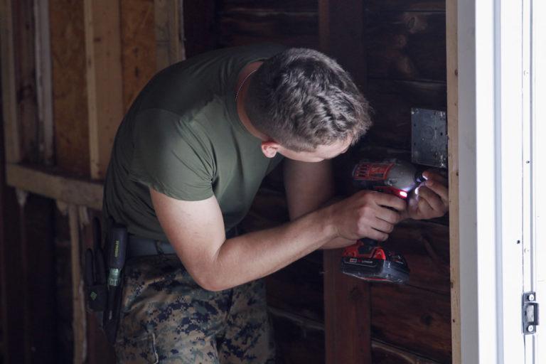 Man working with the best screw gun