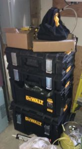 Tool boxes in our garge carry nail gun accessories