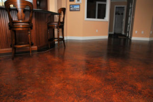Beautiful stained concrete floor in dining room