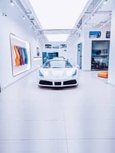 Auto showroom painted concrete floor