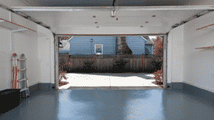 Finished garage floor painted with epoxy paint
