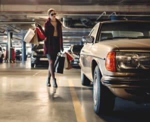 woman walking on garage floor with new coating