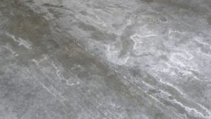 Efflorescence on concrete floor